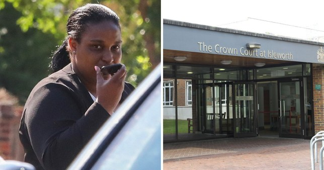 Chantell Graham, 33, who was found guilty of giving insulin to a healthy four-year-old girl, next to picture of Isleworth Crown Court