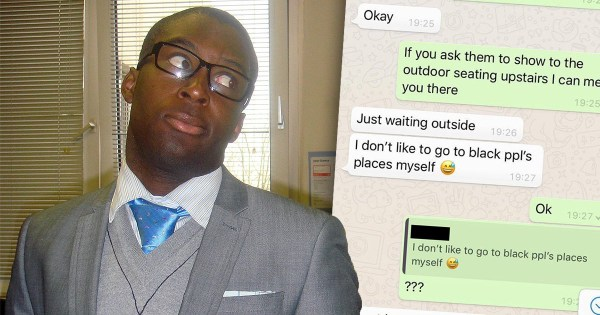 Picture of Nicky Sowemimo, 32, from North London, next to racist messages from his Tinder date