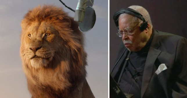 Comp of James Earl Jones and Mufasa in The Lion King