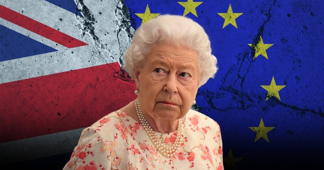 The Queen in front of British and European flags
