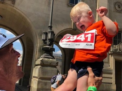 Boy with Down's syndrome can't hide his joy as he finishes his race