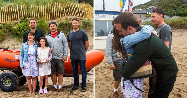 the murphy family and the two lifeguards in front of a lifeboat, and Vicky embracing one of the lifeguards