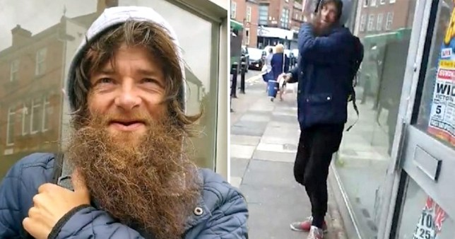 The beggar who admitted he lived in a house was caught on camera by James Southern in Liverpool