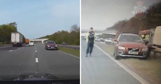 Pensioner filmed driving wrong way down motorway is spared jail