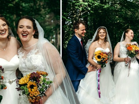 Sisters have a double wedding and get married side by side to save money