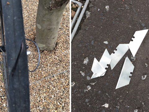 Cyclist's tyres slashed after razor blades were planted on cycle path