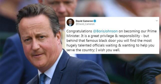 David Cameron and tweet congratulating Boris Johnson