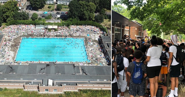 Long queues meant people waited three hours to get into Brockwell Lido due to overcrowding (Picture: