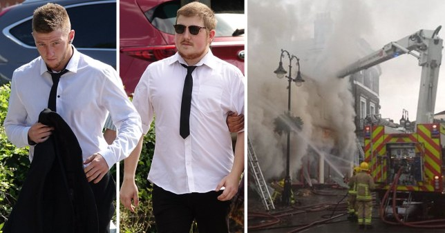 The two men appearing in court next to a picture of the burning building