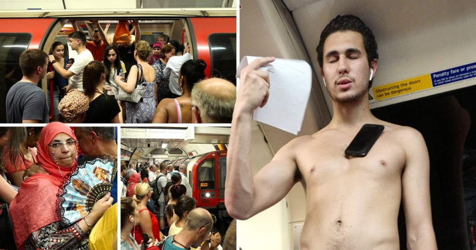 Compilation of sweaty people on the Central Line travelling from Notting Hill Gate and Marble Arch stations