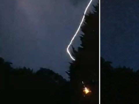 Dad scared by huge crash of thunder while recording storm for son