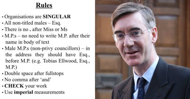 Jacob Rees Mogg and the rules given to staff