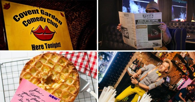 A compilation of photos including a sign, an apple pie, someone holding a newspaper and a barman opening a bottle