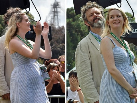 Michael Sheen's pregnant girlfriend Anna Lundberg cradles growing baby bump at charity event