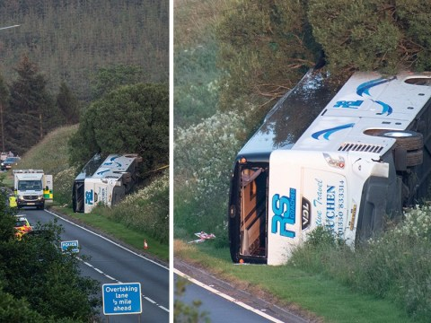 Road closed after overturned bus topples down embankment
