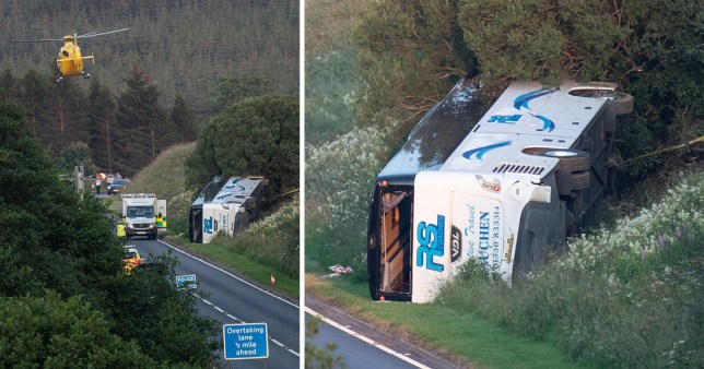Bus crash on A96 in Aberdeenshire.