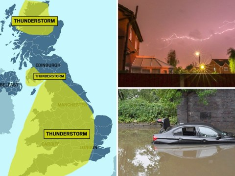 Month's rain to fall in three hours as UK is hit by thunderstorms
