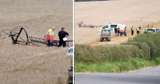 Biplane crash scene near Compton Abbas airfield in Dorset.