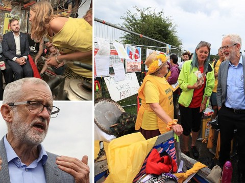 Jeremy Corbyn vows to ban fracking as he joins campaigners outside shale gas site