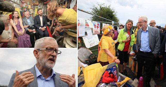 Labour leader Jeremy Corbyn vowed to ban fracking when he met with protesters at the Preston New Road site in Lancashire