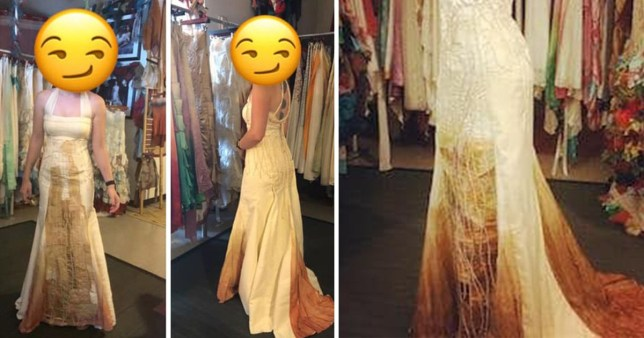 Wedding dress up close, which looksl ike a 'coffee stain'