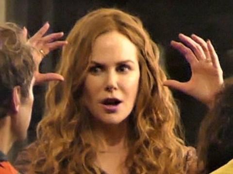 Nicole Kidman looks intense as she discusses car crash scene with directors on The Undoing set