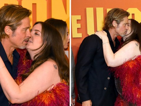 Brad Pitt surprised with cheeky kiss from Lena Dunham at Once Upon A Time In Hollywood premiere