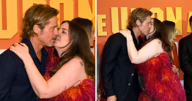 Lena Dunham and Brad Pitt at Once Upon A Time In Hollywood premiere