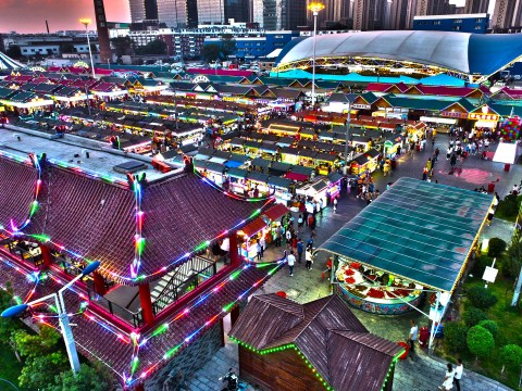 Colourful aerial photos reveal Asia's biggest night market