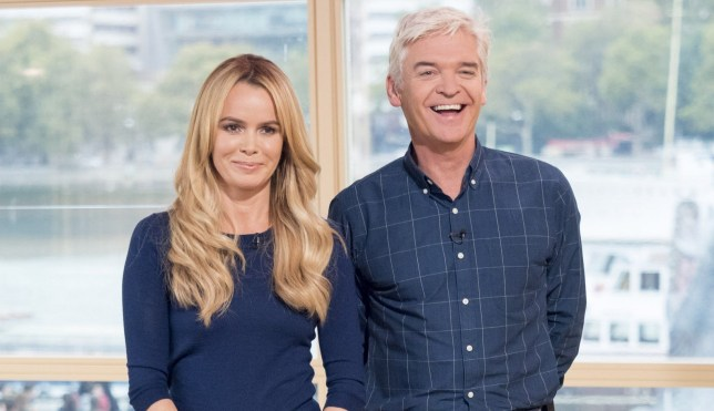 Editorial use only Mandatory Credit: Photo by Ken McKay/ITV/REX (5269674ee) Amanda Holden and Phillip Schofield 'This Morning' TV Programme, London, Britain - 19 Oct 2015