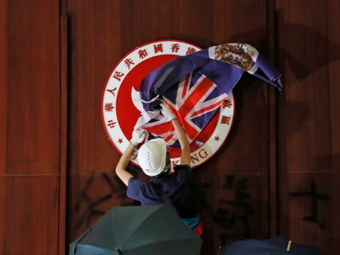 British colonial flag raised in Hong Kong as protests against China grow