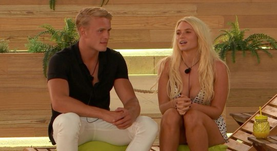 Editorial Use Only. No Merchandising. No Commercial Use Mandatory Credit: Photo by ITV/REX (10326194g) George Rains and Lucie Donlan chat. 'Love Island' TV Show, Series 5, Episode 26, Majorca, Spain - 02 Jul 2019 The girls return from Casa Amor for a dramatic Recoupling A game of dares raises a few eyebrows Curtis is confused about his feelings for Amy and Jourdan, whilst Amy is crystal clear on her LOVE for Curtis A dramatic Recoupling looms and the girls and boys question what lies ahead