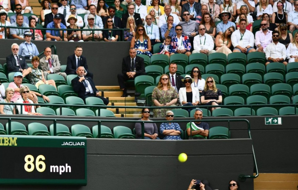 Mandatory Credit: Photo by Javier Garcia/BPI/REX (10327626gu) Meghan Duchess of Sussex watching Serena Williams on Court 1 Wimbledon Tennis Championships, Day 4, The All England Lawn Tennis and Croquet Club, London, UK - 04 Jul 2019