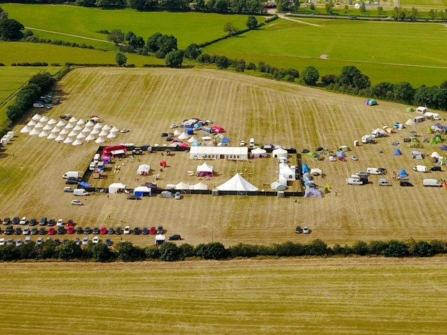 Aerial view of the 2019 Swingfields Festival taking place this weekend near the three counties showground in Malvern, Worcestershire. July 5, 2019. A huge outdoor swingers event returns to the Worcestershire countryside this week. Claiming to be Europe's largest sex festival, Swingfields caused a stir when it first started in 2013 and the unexpected publicity around it forced organisers to cancel the event in 2017. But hundreds of open-minded revellers are expected to descend on the site again this year.