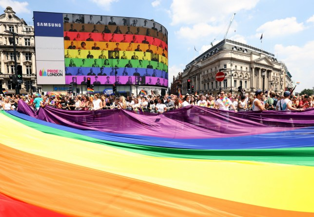 The rainbow flag at Piccadilly Circus during Pride In London