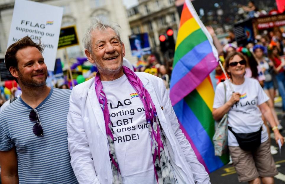 Sir Ian McKellen during Pride in London 2019