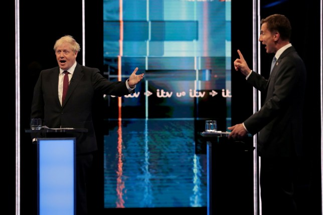 Boris Johnson and Jeremy Hunt, leadership candidates for Britain's Conservative Party, attend Britain's Next Prime Minister: The ITV Debate at MediaCityUK in Salford, Britain July 9, 2019. Matt Frost/ITV/Handout via REUTERS ATTENTION EDITORS - THIS IMAGE HAS BEEN SUPPLIED BY A THIRD PARTY. NO RESALES. NO ARCHIVES.