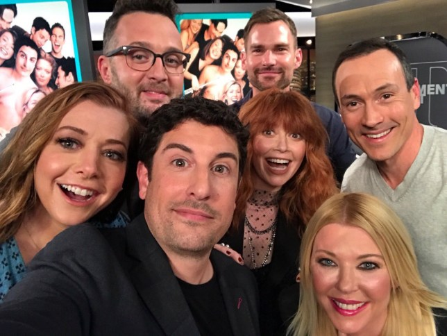 American Pie cast reunites for film?s 20th anniversary with epic selfie (Picture: Alyson Hannigan/Twitter)