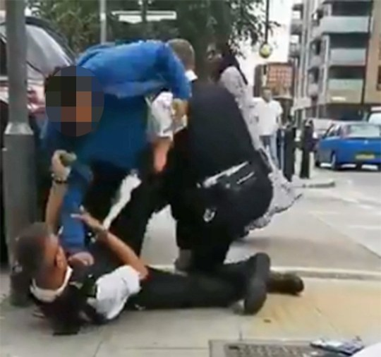 Woman screams 'he's dying, he's dying' as man is violently