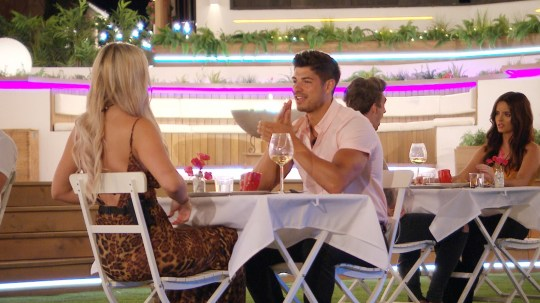 From ITV Studios Love Island: SR5: Ep35 on ITV2 Pictured: Belle and Anton have dinner. This photograph is (C) ITV Plc and can only be reproduced for editorial purposes directly in connection with the programme or event mentioned above, or ITV plc. Once made available by ITV plc Picture Desk, this photograph can be reproduced once only up until the transmission [TX] date and no reproduction fee will be charged. Any subsequent usage may incur a fee. This photograph must not be manipulated [excluding basic cropping] in a manner which alters the visual appearance of the person photographed deemed detrimental or inappropriate by ITV plc Picture Desk. This photograph must not be syndicated to any other company, publication or website, or permanently archived, without the express written permission of ITV Picture Desk. Full Terms and conditions are available on the website www.itv.com/presscentre/itvpictures/terms For further information please contact: james.hilder@itv.com / 0207 157 3052