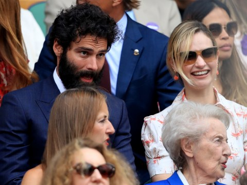 Aidan Turner and Lily James watch Wimbledon women's final from the Royal Box