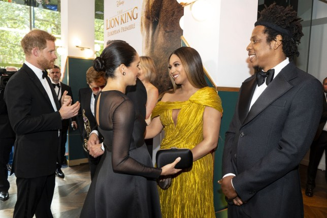 Prince Harry, Meghan Markle, Beyonce and Jay-Z at the European premiere of the film The Lion King in London