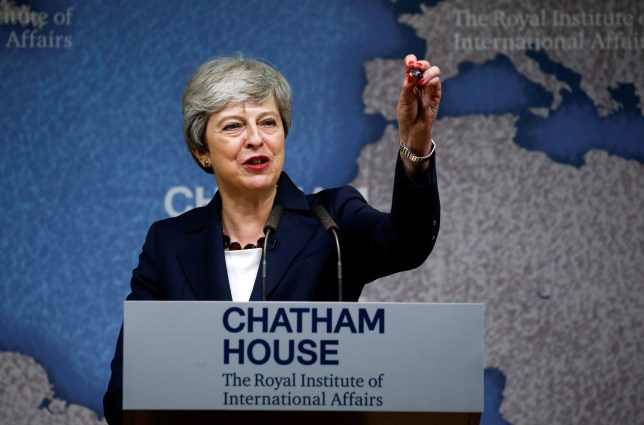 Prime Minister Theresa May making a speech on the state of politics domestically and internationally, at Chatham House in London. PRESS ASSOCIATION Photo. Picture date: Wednesday July 17, 2019. Photo credit should read: Henry Nicholls/PA Wire