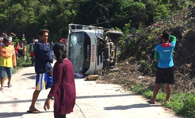 (Picture: CDN Digital) Philippine police say at least 9 mostly grade school students died and 16 others were injured when the truck they were riding on lost control on a downhill road, flipped on its side and pinned some of the victims.