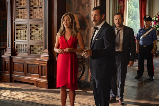 Jennifer Aniston as Audrey Spitz and Adam Sandler as Nick Spitz in MURDER MYSTERY