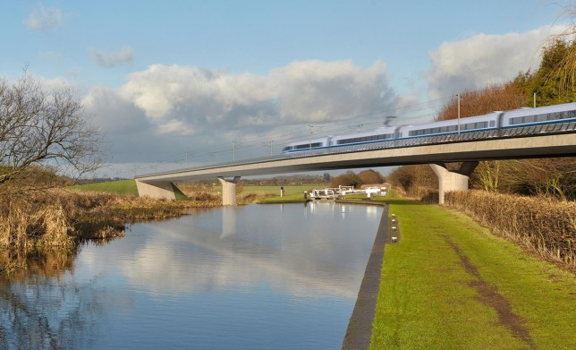 An artist's impression of an HS2 train on the Birmingham and Fazeley viaduct, part of the proposed route for the HS2 high speed rail scheme.