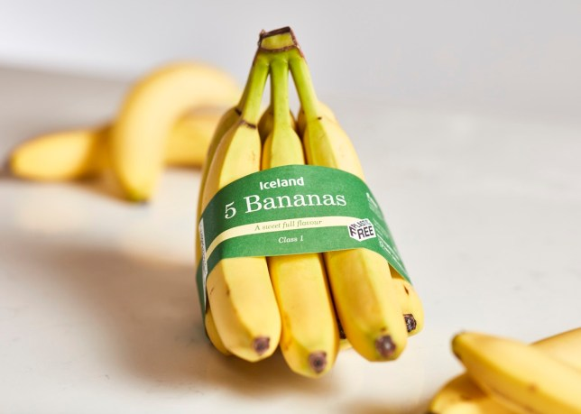 """EMBARGOED TO 0001 MONDAY JULY 22 Iceland undated handout photo of their pre-packaged bananas which are being sold in a recycled paper band. Iceland boss Richard Walker has admitted the group still has a """"mountain to climb"""" on its plastic-free pledge after it was forced back to the drawing board on two key trials. PRESS ASSOCIATION Photo. Issue date: Monday July 22, 2019. The eco-friendly supermarket had to reintroduce plastic packaging across its bananas this summer ? equating to 10 million plastic bags a year ? after its paper band replacement failed to live up to hopes. See PA story CITY Iceland. Photo credit should read: Iceland/PA Wire NOTE TO EDITORS: This handout photo may only be used in for editorial reporting purposes for the contemporaneous illustration of events, things or the people in the image or facts mentioned in the caption. Reuse of the picture may require further permission from the copyright holder."""