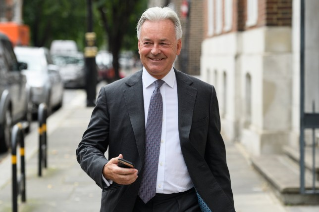 "LONDON, ENGLAND - JULY 22: Foreign Office minister Alan Duncan walks through Westminster after it was announced that he would be quitting his government position, ahead of Boris Johnson's expected success in the Conservative Party leadership battle, on July 22, 2019 in London, England. It is expected that a number of senior figures will resign ahead of the changeover at number 10, in protest at the possibility of the next leader pursuing a ""No Deal"" Brexit, which would see the UK leave the EU without a formal agreement. (Photo by Leon Neal/Getty Images)"