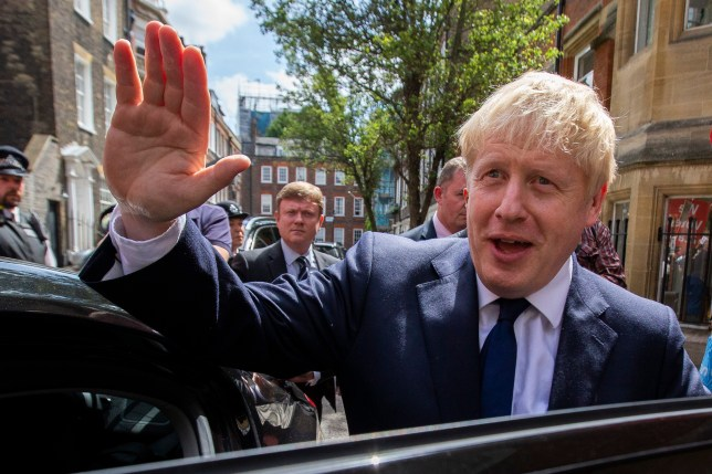 ? Licensed to London News Pictures. 22/07/2019. London, UK. Conservative Party leadership contender Boris Johnson leaves an address in Westminster. He is one of two remaining candidates in the leadership contest . Photo credit: George Cracknell Wright/LNP