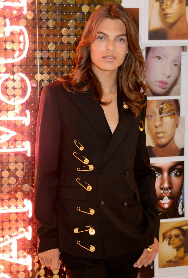 Mandatory Credit: Photo by Richard Young/REX (10346888j) Pat McGrath Muse Damian Hurley launches the Pat McGrath Labs new product range, 'Sublime Perfection: The System' at Selfridges Pat McGrath Labs 'Sublime Perfection: The System' photocall with Damian Hurley, London, UK - 25 Jul 2019 Wearing Versace Same Look Outfit as Liz Hurley